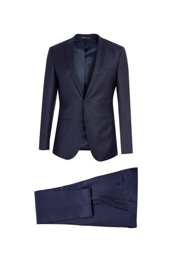 80f4bb91179bc Erkek Lacivert Süper Slim Fit Desenli Takım Elbise Modelleri